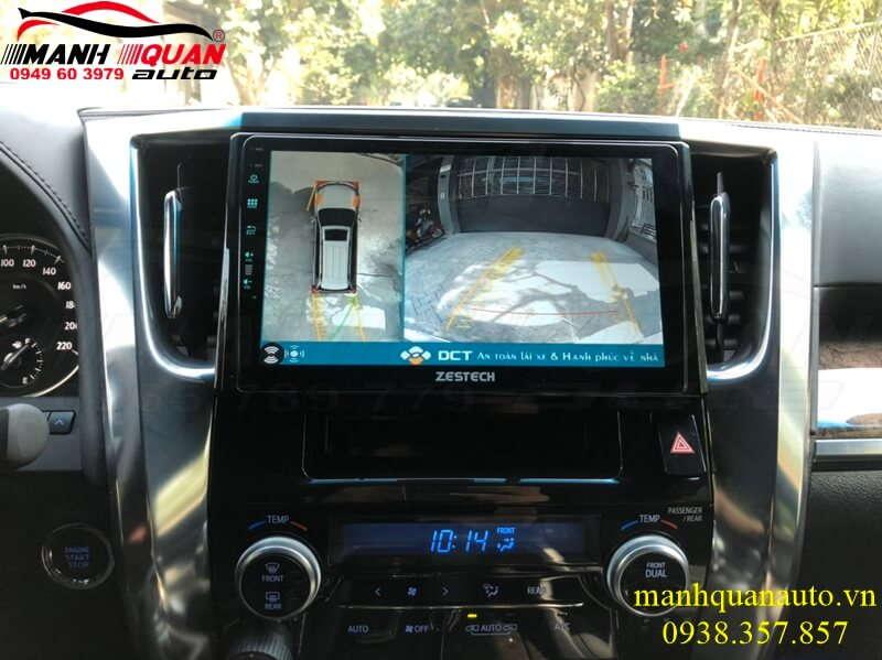 Toyota Alphard lên combo khủng màn hình Zestech Z900+Camera 360 DCT Bản T3