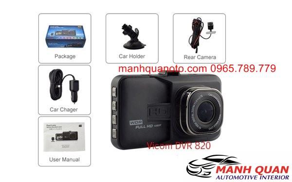 Camera Hành Trình Vicom DVR 820 Ghi Hình Trước Và Sau Xe Chevrolet Spark Duo