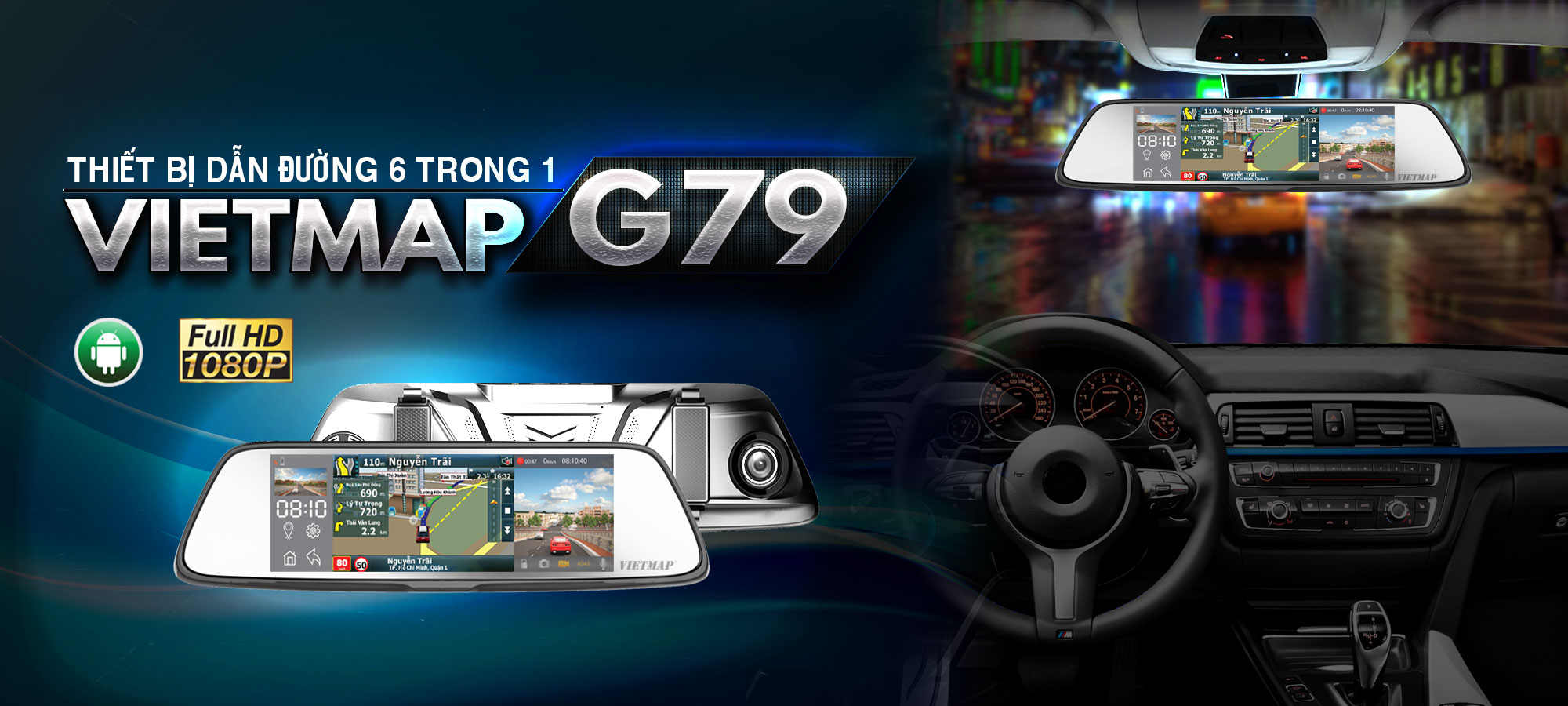 Camera Hành Trình VietMap G79 | Camera Hành Trình Gương Chiếu Hậu Cao Cấp 6 In 1