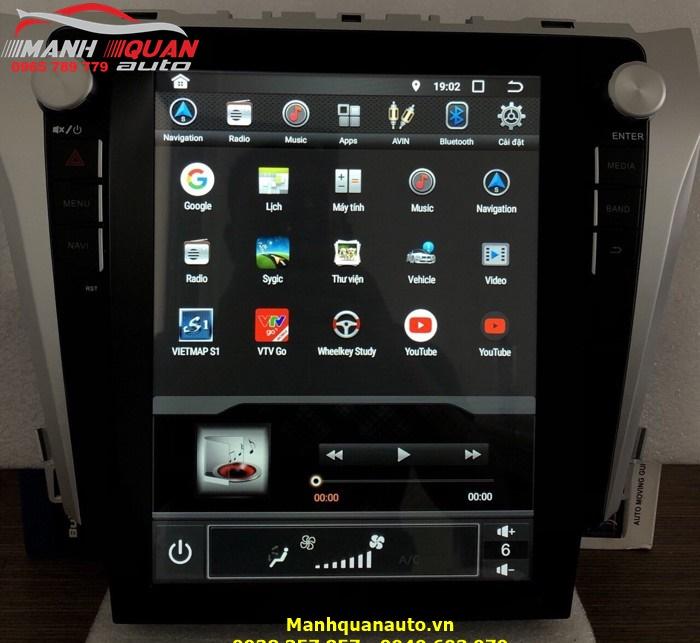 Lắp Đầu DVD Kiểu Tesla Hệ Điều Hành 8.0 Cho Camry 2013-2019